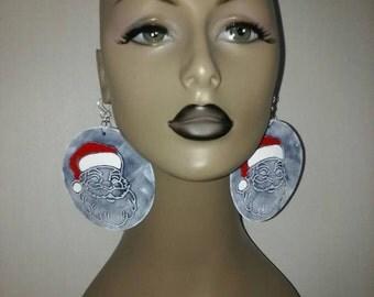 Denim Round Fabric Earrings Embellished Cute Santa Claus Design, Large Fabric Earrings, Women Earrings, Large Earrings, Christmas Earrings