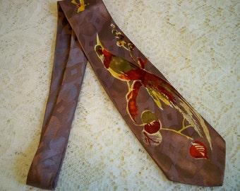 Vintage 1970s Hummingbird Necktie Bird Tie