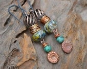 Turbine, Lampwork, Turquoise and Copper Headpin Earrings