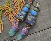 Flourite Relics, Lampwork Relic Beads, Green Flourite, Sari Silk and Recycled Glass