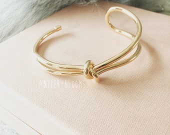 Love Knots. Bangle nail knot heart personalized rose gold sterling silver monogram  initial valentine gift anniversary birthday wedding