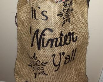 Burlap Bag, Burlap Lights, Burlap Bag Lights, Burlap Lighting, Prim Lighting, Rustic Lighting, Burlap Monogram