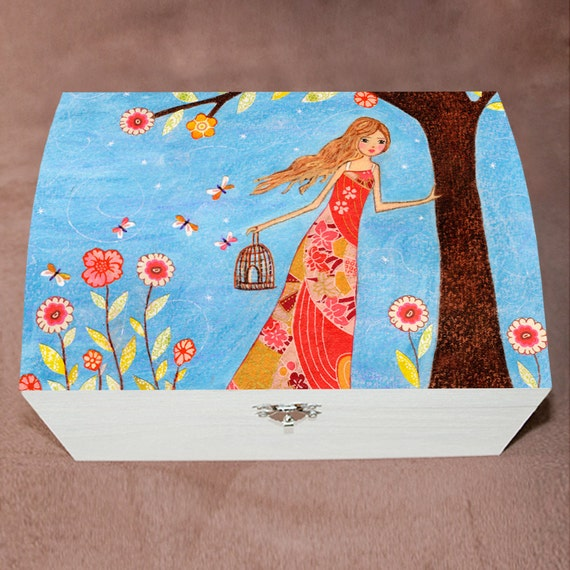 Jewelry box large jewelry box girl with bircage by sascalia for Girls large jewelry box