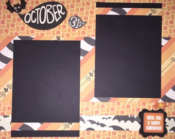 HALLOWEEN 12 x 12 premade scrapbook layout - Girl Boy Halloween