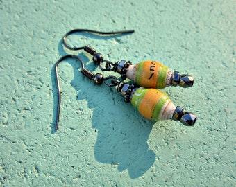 Paper Bead Gunmetal Dangle Earrings: Starla