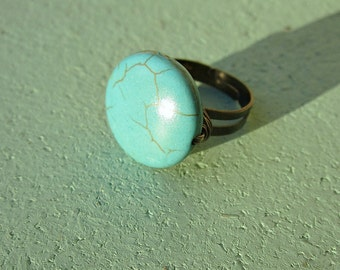 Ring, Adjustable Rustic Brass with Blue Howlite Stone Disk: Austin
