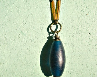 Adjustable Rustic Brass Chain Necklace with Blue Glass Pendant: Zenith