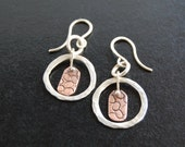 Silver Hoops with Textured Copper Dangle
