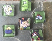 Halloween Cartoons - square glass magnet set
