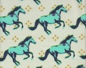 Cotton + Steel Melody Miller Mustang Horses in Aqua and Cream - Half Yard