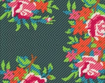 Free Spirit Fabrics Anna Maria Horner Dowry Twill Bouquet in Evergreen - Half Yard