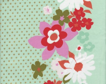 Cotton + Steel Melody Miller Mustang Floral Border Stripe in Mint (Metallic) - Half Yard