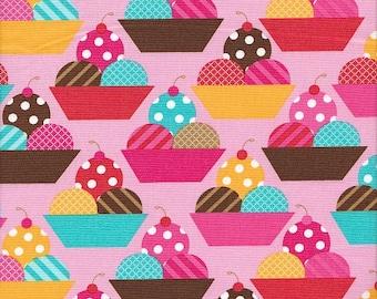 Robert Kaufman Dessert Party Ice Cream Sundaes on Pink - Half Yard