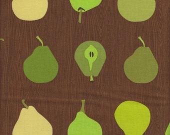 Robert Kaufman Every Iota Metro Market Green Pears on Brown - Half Yard