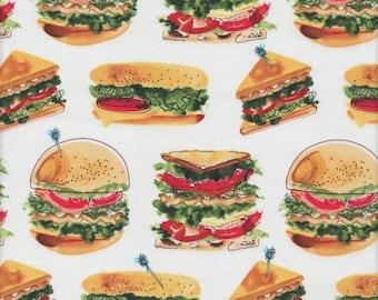 Robert Kaufman Let's Do Lunch Sandwiches on White - Half Yard
