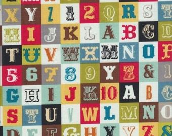Riley Blake Sasparilla Alphabet in Multi - Half Yard
