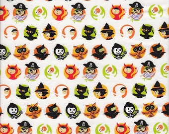 SALE Riley Blake Costume Clubhouse Halloween Character Dots in White - Half Yard