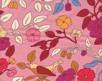 Moda Fabrics Ladies Stitching Club Birds and Branches in Pink - Half Yard
