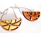 Tasmanian Myrtle Wood Geometric Necklace - laser cut timber and Kanazawa gold or copper pendant with steel chain