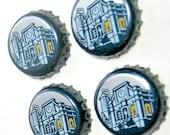 Beer Magnets, Bottle Cap Magnets, Third Shift Bottle Cap Magnets, Bar Magnets, Band of Brewers  Magnet Set, Four Beer Bottle Magnets