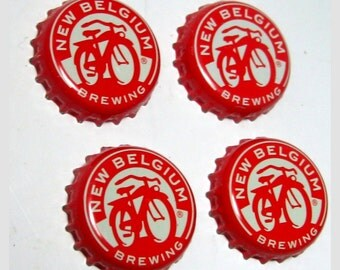 Craft Beer Magnet Set, New Belgium Beer Cap Magnets, Beer Bottle Top Magnets, Set of Four, File Cabinet Magnet, Refrigerator Magnets