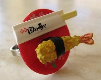 Shrimp Tempura Nigiri Sushi Ring - Food Jewelry - Food Ring - Foodie Gift