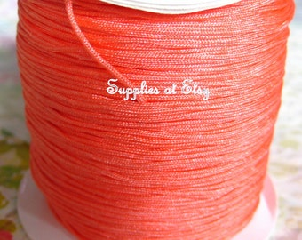 Coral Silky Nylon cord bracelet/knotting/beading cord .8 mm 10 feet-Salmon like silky Great Quality DIY Macrame,Shambhala Bracelet