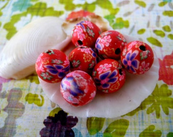 Sale  28 Organic red green cobalt floral Polymer Clay Beads Round  beads 10mm-Fancy handmade Floral beads- Floral  Pink purple red colors