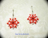 ON SALE Red and White Medallion Native American Style Handwoven Seed Bead Earrings Medallion Boho Fashion Hippie