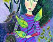 Demeter. Art print from my mixed media painting, wall art, A4