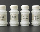 Vintage Home Kitchen Herb- Spice 6- Jars - Milk Glass Bottle
