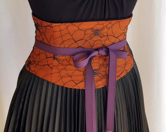 Orange and Black Spider Web Halloween Corset Waist Cincher Lace Up Any Size