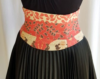 Split Pink and Ivory Corset Waist Cincher Belt Any Size