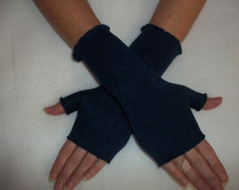 Sweater Knit Fleece Fingerless Gloves / Navy Heather / Your choice of size