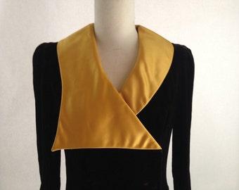 Vintage Mod Velvet Dress/ Gothic/ Arpeja Young Edwardian