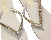 Bridal Champagne Flip Flops - Bridesmaids Flip Flops - Wedding Flip Flops - Crystal Flip Flops - Beach Wedding - 9 Rhinestone Colors