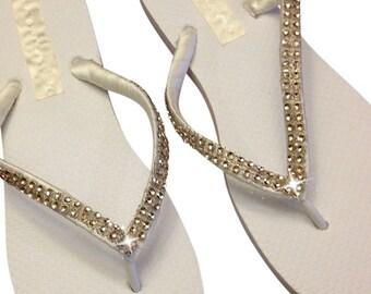 Bridal White Flip Flops - Bridesmaids Flip Flops -  Champagne Rhinestone  Flip Flops - Beach Wedding - 9 Rhinestone Colors