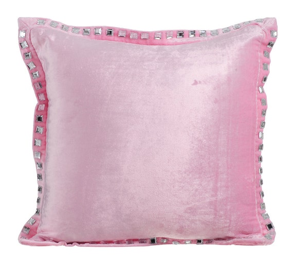 Soft Down Throw Pillows : Soft Pink Throw Pillows for Bed 16x16 Pillow Covers Velvet