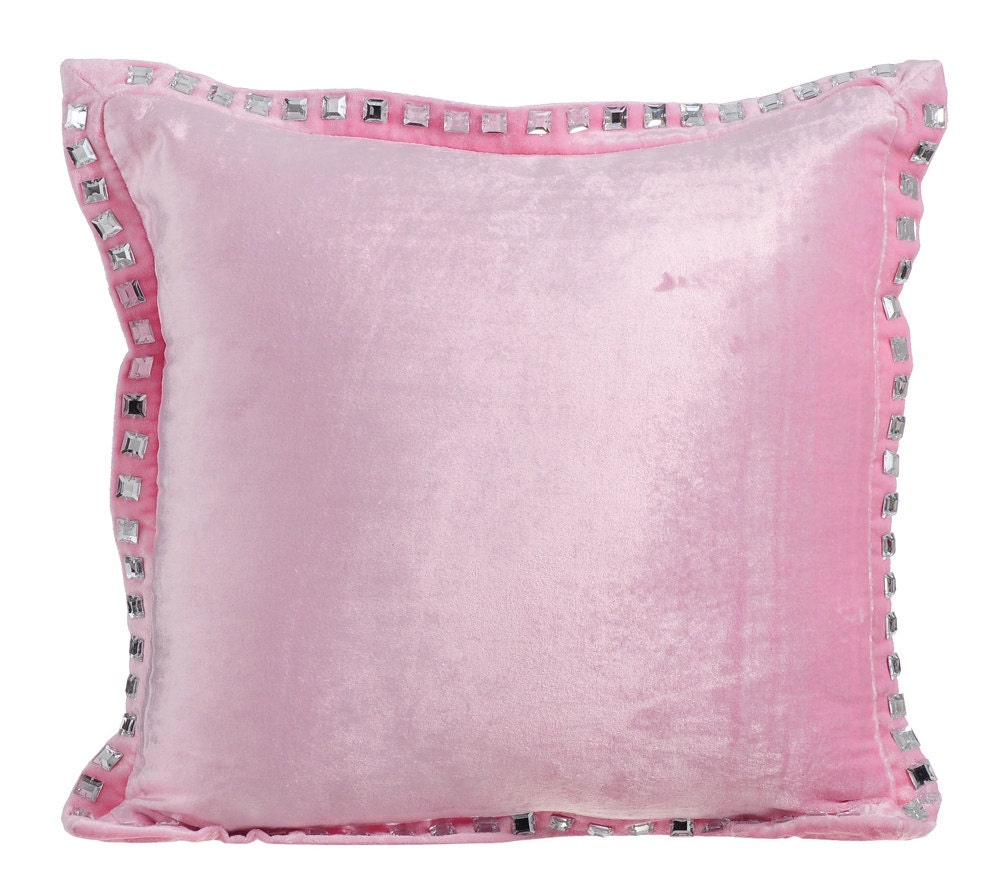 Soft Pink Throw Pillows for Bed 16x16 Pillow Covers Velvet
