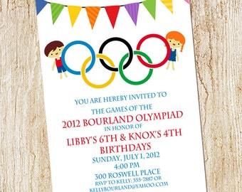 Olympic Party invitation- Olympics Birthday Invitation- Digial File, print yourself - or PRINTED -  Double birthday party - Summer olympics