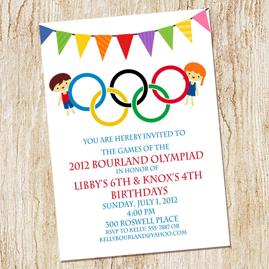 Olympic Party Invitation Olympics Birthday Invitation Digial