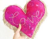 Pink & Gold Love Heart Cushion - A Unique Handmade Felt and Gold Fringe Mini Love Heart Pillow in Pink, Ibiza Style, Tassle Cushion