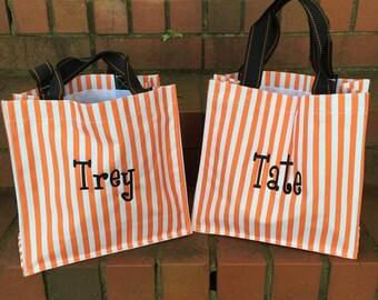 Orange stripe Halloween Bag-Candy Bag-Monogram included
