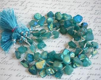 25% Off Sale Mystic Aqua Aura Blue Topaz Nugget Briolette  Beads,  Apatite Blue Mystic Topaz Beads