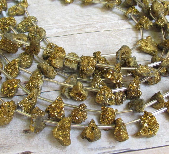 Small Size Beads: Gold Druzy Mystic Briolette Beads Small Size 12mm 15mm