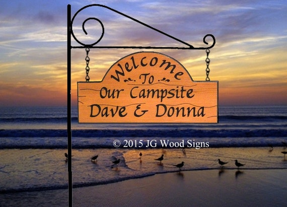 Campsite  Sign - Custom Carved RV Camping Sign - Includes Round Garden Holder JG Wood Signs Personalized Camping Sign