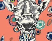 Children Decor, Giraffes Love Scarves Too, Fun Wall Decor Illustration