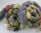 WIntergreen night  Corriedale Roving / Wool Roving (Top) - Handpainted Spinning or Felting Fiber, 4 ounces