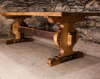 The Schwarzwald - Bavarian Style Reclaimed Oak Tavern Trestle Table
