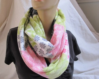 Fleece Patchwork Look Cowl/Circle Scarf/Infinity Scarf (5362)